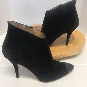 Zara Suede Stiletto Heel Studded Toe Booties